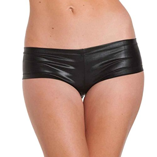 GBSELL Women Sexy Hot Metallic Faux Leather Booty Mini Short Dance Pants Bikini (Black)