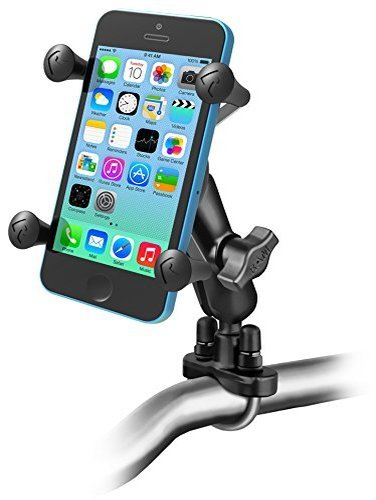 Ram Mounts RAM-B-149Z-UN7U Handlebar Rail Mount with U-Bolt Base and Universal X-Grip Cell Phone Holder, Zinc Coated