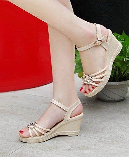 cuña era la plataforma desplazamiento cuña mujeres sandalias Scothen bajos de talón la punta de muy de la austeras bucle sandalias cuña de calza las Mujer de tobillo Beige gladiadores sandalias del las Z0BwO1q