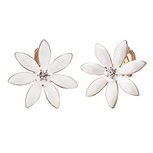 Yoursfs Flower Clip On Earrings for Women Non Pierced White Emamel Wedding jewelry ()