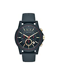 Armani Exchange AX1335 Men's Quartz Stainless Steel and Silicone Casual Watch, Blue