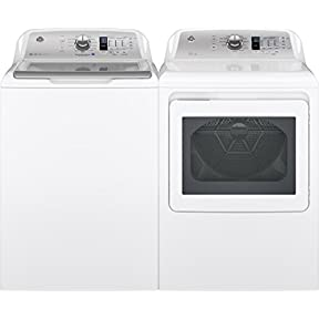 GE White Top Load Laundry Pair with GTW680BSJWS 27' Washer and GTD65GBSJWS 27' Gas Dryer