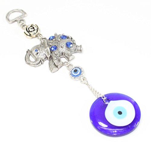 Turkish Blue Evil Eye (Nazar) Elephant with Rose Amulet Home Decor Protection Blessing Gift US Seller