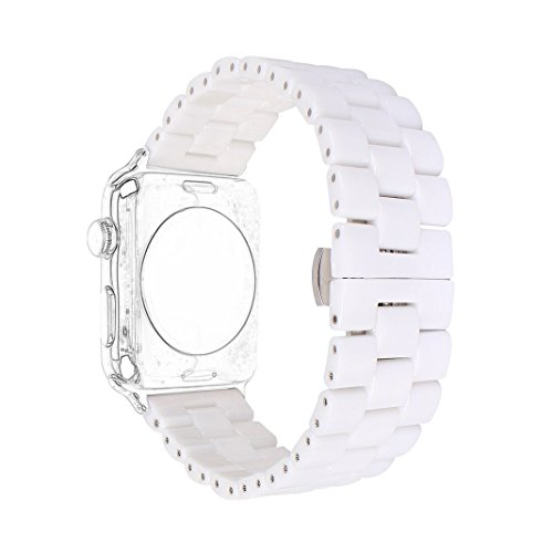 Apple Watch Band 42mm, Ceramic Watchband Bracelet iWatch Replacement Wristband Strap with Adapter for 42mm Apple Watch Series 3/2/1 (White,Style ()