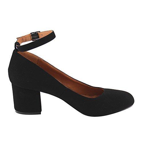 BONNIBEL GF46 Women's Buckled Ankle Strap Mid Block Heel Dress Pumps, Color:BLACK, Size:8.5