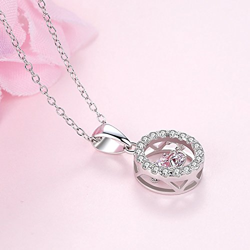 Ashley Jeweller 925 Sterling Silver Dancing Cubic Zirconia Pendant Necklace 18
