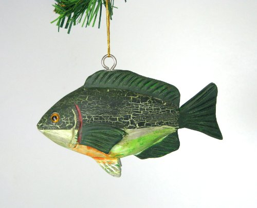 3D Green Freshwater Sunfish Fish Christmas Ornament