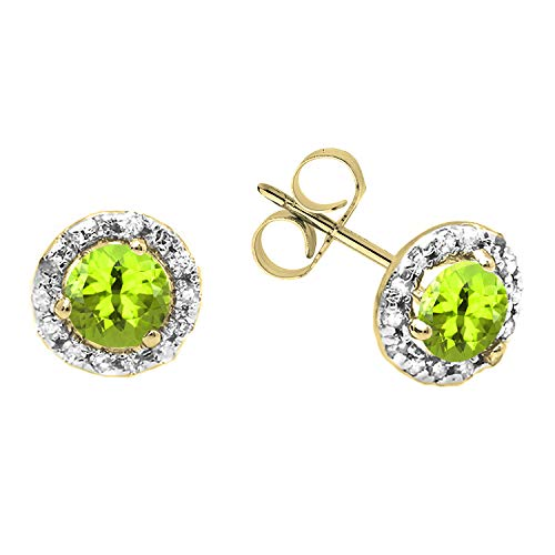 (Dazzlingrock Collection 18K 4 MM Each Round Peridot & White Diamond Ladies Halo Style Stud Earrings, Yellow Gold)