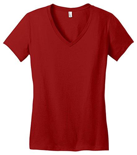 (District Women's Soft Durable Ring Spun V-Neck T-Shirt_Classic)