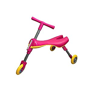 Mr Bigz Foldable Indoor/Outdoor Toddlers Glide Tricycle - No Assembly Required (Pink)