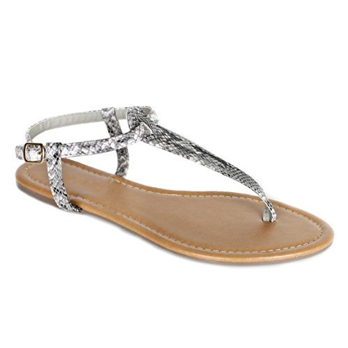 Red Circle Women's T Strap Thong Gladiator Strappy Jelly Shiny Flat Flip Flops Sandals (7, Snake)