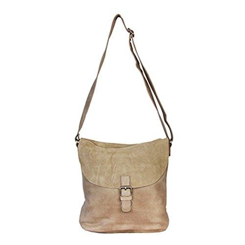 BELOVEDbag 17-03-2-004 - Bolso de hombro de Cuero Mujer Beige