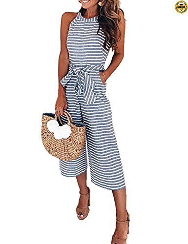 Belted Striped Sweater - Greentree Women Striped Waist Belted Wide Leg Jumpsuit (Blue, S)