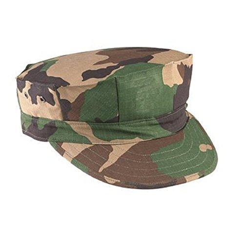 Woodland Camo 100% Cotton Rip-stop Marine Corps Cap - No Emblem (Large)