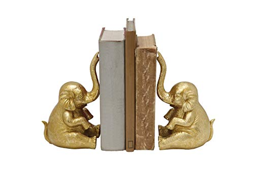 Creative Co-op Elephant Shaped Gold Resin Bookends (Set of 2 Pieces)