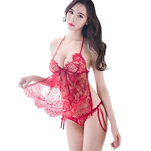 (Women Sexy Lingerie V-Neck Lace Sleepwear See-Through Halter Babydoll Dress +G-String (Free Size, Red))