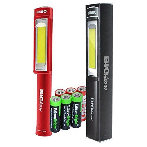 Nebo 6413 Big Larry Red 400 lumen Flashlight COB LED Magnetic Worklight with 3 X EdisonBright AA Alkaline batteries bundle