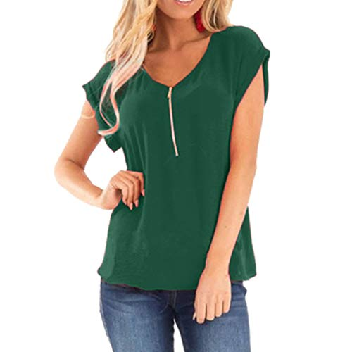 (WEISUN Women Casual Blouse Summer Zipper Stitching Solid Color Sleeved O-Neck T-Shirt Tops Loose Soft Blouse Green)