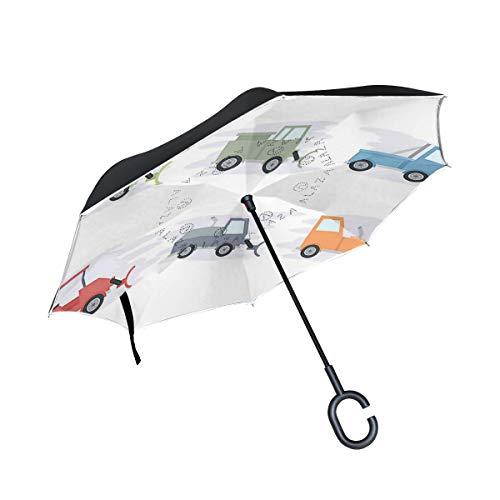 Reverse Umbrella,Snow Plow Inverted Night Reflective Edge Golf Umbrellas,Double Layered Polyester Canopy,O-Shape Handle (Mini Snowplow)
