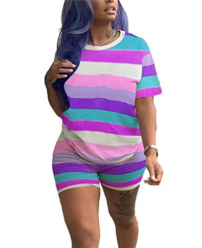 Women Casual 2 Piece Outfits Rainbow Stripe Short Sleeve Round T-Shirts and Bodycon Short Pants Set