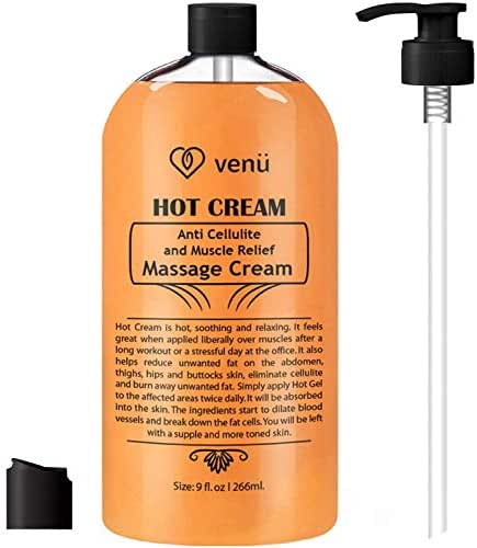 Anti Cellulite cream Hot Cream, Muscle Massager Gel, Muscle Relaxant & Pain Relief Cream, Firms Skin Treatment - Tightens Skin, Soothes, Relaxes, 9OZ (Hotcream)