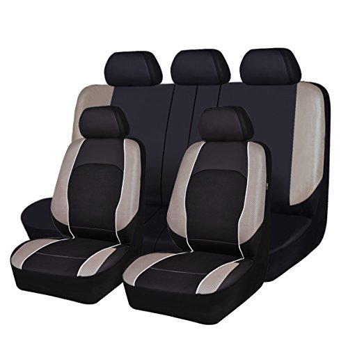 - NEW ARRIVAL -HORSE KONGDOM Universal Car Seat Covers Faux Leather With Air-mesh Breathable Aibag Compatible Fit Cars, Suvs, Sedans, Trucks Full Seat (black with beige)