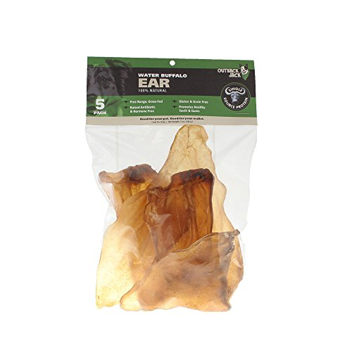 Outback Jack Water Buffalo Ears 100% Natural Dog Treats, Natural Brown (5 Pack Dog Treats)