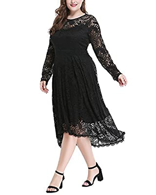 Women's Plus Size Long Sleeve Sweetheart Neckline Lace High-Low Party Dress