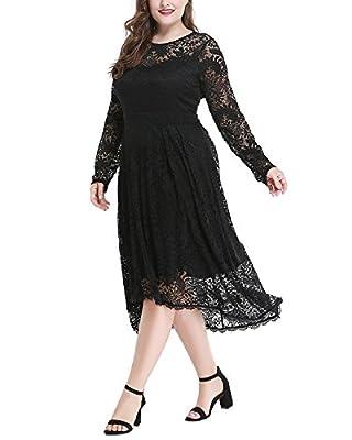 Women's Plus Size Long Sleeve Sweetheart Neckline Lace High-Low Party Dress