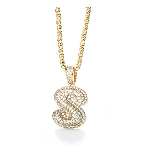 Meow Star Initial Letter Necklace for Woman Man Micropave Simulated Diamond Bubble Letters Pendant Necklace (S)