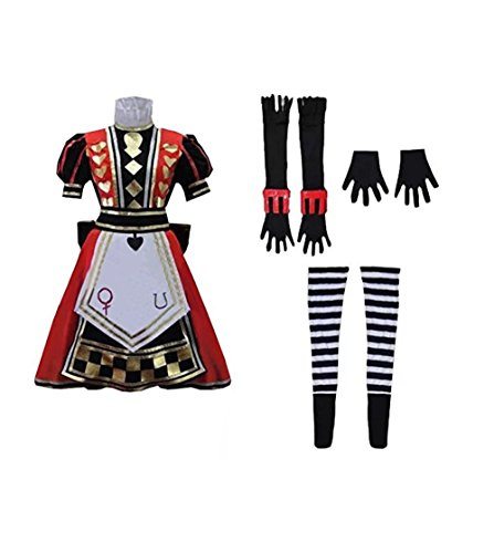 TISEA Womens Halloween Royal Suit Alice Red Dress Cosplay Costume -