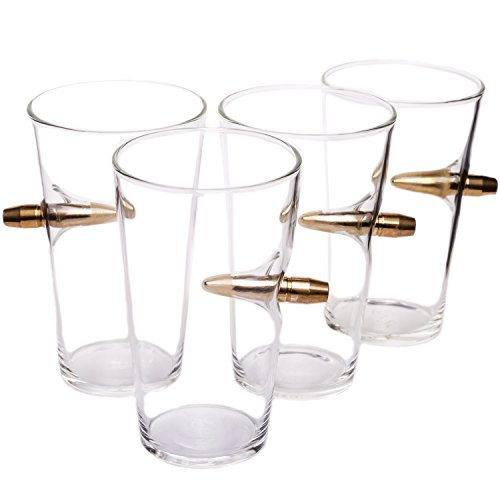 50-Cal-Real-Bullet-Hand-Blown-Pint-Glass-Set-of-4