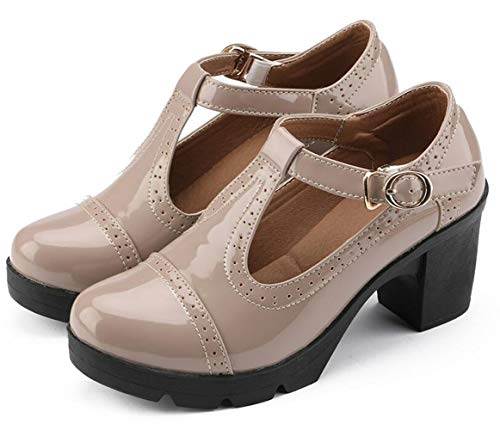 - Dress Sandals for Women 2019 Summer Chunky Heel t Strap Leather Walking Shoes Ladies Platform Wedge Oxford Business Casual Shoes Size 8.5 (777beign41)