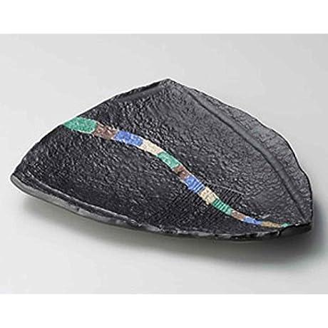 Oribe Sansai Line 12 8inch Set Of 10 SUSHI PLATES Black Ceramic Made In Japan