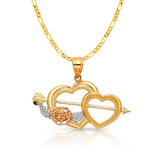14K Two Tone Gold Double Heart With Cupid Arrow Charm Pendant with 2mm Figaro 3+1 Chain Necklace - 18