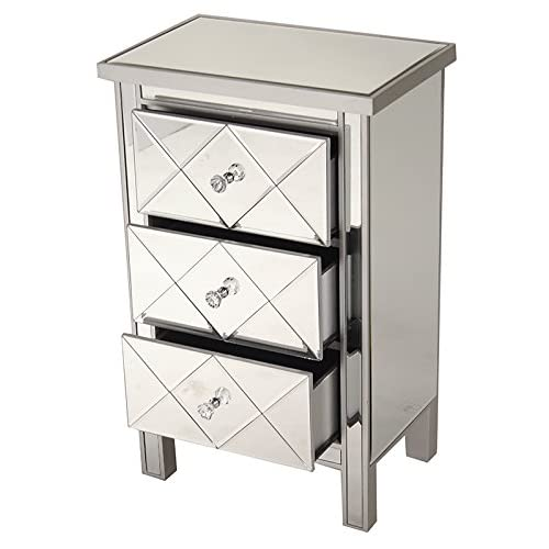 """Heather Ann Creations Modern 3 Drawer Accent Chest/Console with Front Beveled Mirrored Finish, 31"""" x 20"""", Silver"""