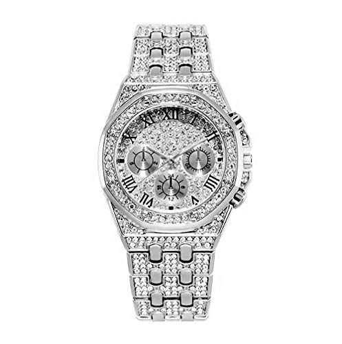 Top WH Men's Big Face Hip Hop Bling-ed Out CZ Watch with Simulated Chronograph Dial ()