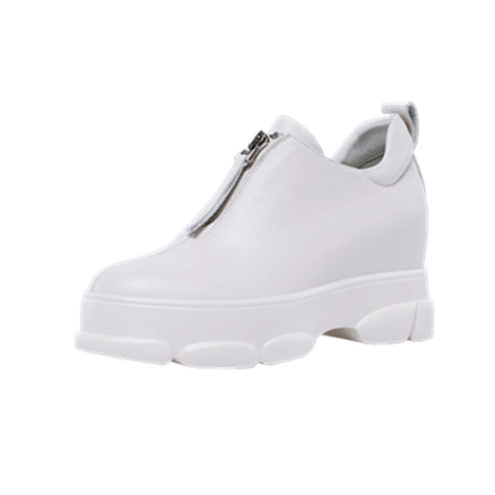 White Nine Seven Genuine Leather Women's Round Toe Flat Platform Wedge Heel Cute Handmade in Front Zip Women Pumps