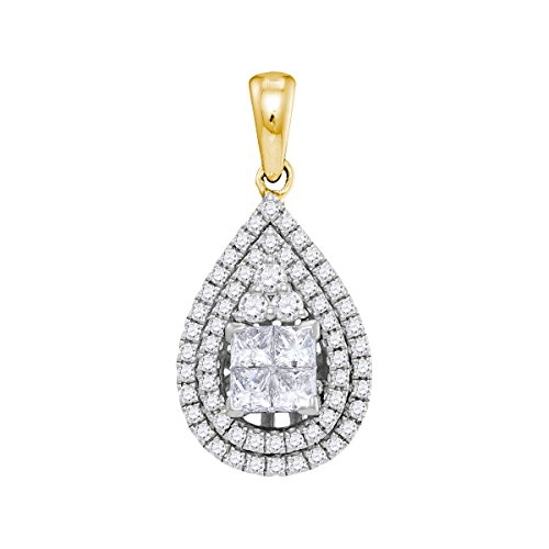 14kt Yellow Gold Womens Princess Diamond Teardrop Cluster Pendant 1.00 Cttw 14kt Gold Cluster Drop Necklace