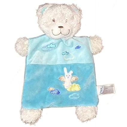 Doudou plana oso blanco azul Tuquoise ángel nubes Tex Baby CMI Carrefour