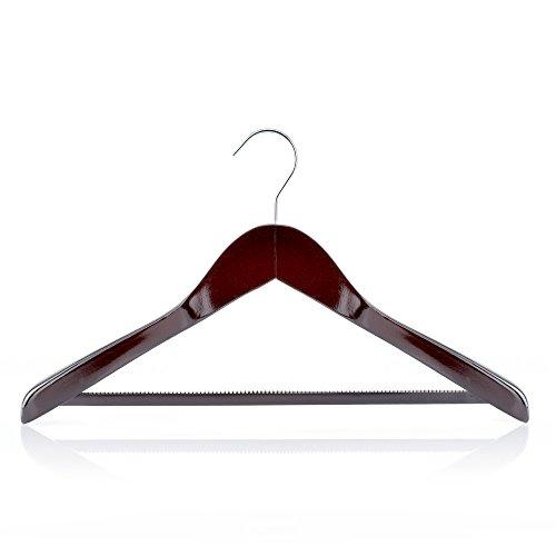 Mahogany Rich Wood Inlaid - HANGERWORLD 5 Mahogany 17.7inch Wooden Coat Clothes Garment Non Slip Pants Bar Hangers Broad Shoulder Support