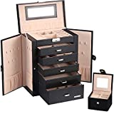 Homde Huge Jewelry Box Girls Jewelry Organizer Gift Case with Small Travel Case Black