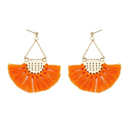 ROWAG Semicircle Fan Shape Tassel Dangle Stud Earrings for Women Bohemian Fringe Thread Ear Drop (Shape Pendant Earrings)
