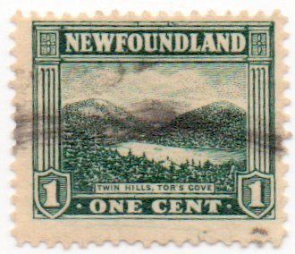 - Newfoundland Postage Stamp Single 1923 Twin Hills Tor's Cove Issue 1 Cent Scott #131