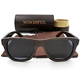 Bamboo Glasses Sunglasses Wood Eyewear Polarized Lens with Wooden Sunglasses Case 95 Reinforced metal hinges. The sunglasses is light and can float in water,Because of the porous nature of bamboo. They're made with actual bamboo, so every pair is different.