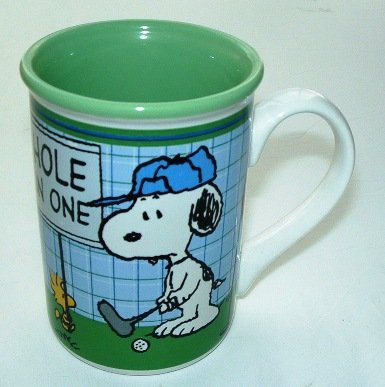 Officially licensed Peanuts Snoopy & Woodstock Golfers Ceramic Coffee Mug Hole in One