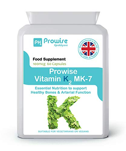 Vitamin K2 MK-7 100mcg 60 Capsules from Natural Natto, UK Manufactured to GMP Code of Practice, Suitable for Vegetarians and Vegans