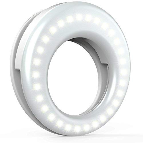 Ring Light for Camera [Rechargable Battery] Selfie LED Camera Light [36 LED] for iPhone iPad Sumsung Galaxy Photography Phones, White by QIAYA