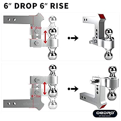 oEdRo Adjustable Trailer Hitch Ball Mount/Forged Aluminum Shank, 2