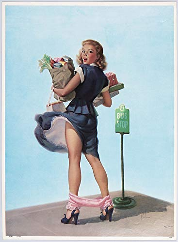 1950 Vintage Art Frahm Rare Cheesecake Pin-Up Poster Embarrassed Series Blonde at Bus Stop Titled O-Oh!
